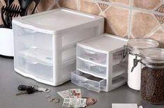 Sterilite 3 drawer desk organizer elegant kitchen plastic storage drawers w Plastic Storage Drawers, Drawer Storage Unit, Drawer Organisers, Desk With Drawers, Storage Cabinets, Bathroom Sink Cabinets, Desk Organization, Organizer, Desktop
