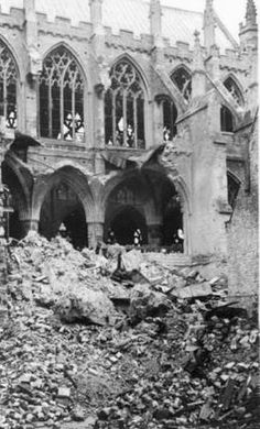 """""""Exeter is the Jewel of the West, and We Have Destroyed It"""" Devon Uk, Devon And Cornwall, Old Pictures, Old Photos, Exeter Cathedral, Exeter Devon, The Blitz, World War Two, Great Britain"""