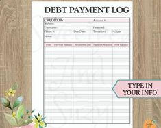 Debt Payment Log ~ Debt Tracker ~ Debt Snow Ball ~ See your progress each time you log a payment! Fillable on computer! Monthly Budget Printable, Debt Tracker, Debt Snowball, Thing 1, See You, Letter Size, Physics, Budgeting, Lettering
