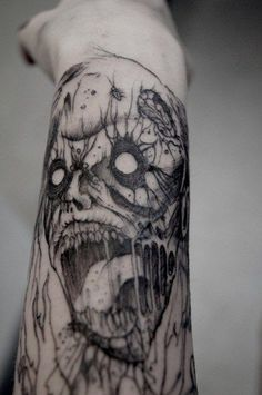 Scary Zombie Face Design for Zombie Tattoos on Forearm