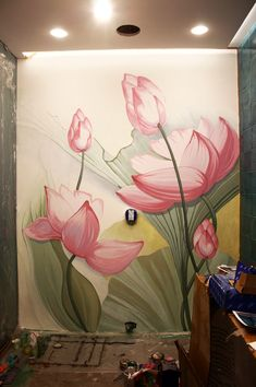 Creative Wall Painting, Wall Painting Decor, Mural Wall Art, Flower Mural, Flower Wall Decor, Wall Art Designs, Wall Design, Wall Drawing, Floral Wall