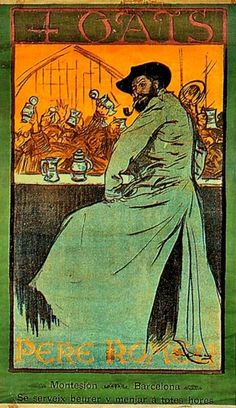 Poster for the 4 Gats by Ramon Casas (1866-1932). This is a portrait of Pere Romeu, a fellow artist who owned El Quatre Gats.This bar in Barcelona was a popular hang-out for the city's artists at the end of the 19th century, including Picasso, and you can still visit it today.  I think we need a revival of the full-length coat - what's not to like?
