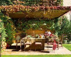 terrasse ideen gestalten überdachung kletterpflanzen begrünen