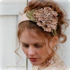 Shabby Leather Flower Headband. $75.00, via Etsy.