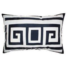 """Outdoor pillow with a Greek key motif in navy.   Product: PillowConstruction Material: PolyesterColor: Navy and whiteFeatures:  Insert includedSuitable for indoor or outdoor use Dimensions: 12"""" x 18""""Cleaning and Care: Spot clean"""