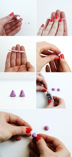 Use polymer clay to make marbled stud earrings.