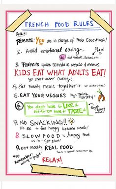 Food Rules for Kids - Courtesy of Karen LeBillon @ http://karenlebillon.com/