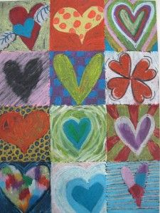 Heart Art! I can't find the original photo of this art project on the provided link but it would be easy to duplicate and embellish.  Just have kids divide their paper into squares and then color each heart and background differently.  i think pastels would work great!