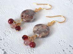 レンガ色系コイン型天然石のピアス ワインレッド Creema Handmade Accessory Crafts Earrings Red Pink ハンドメイド アクセサリー イヤリング 赤 ピンク