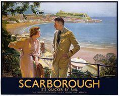 Scarborough - It's Quicker by Rail - British Rail poster, ca. Posters Uk, Railway Posters, Train Posters, Space Posters, Retro Posters, British Travel, British Seaside, British Isles, British Holidays