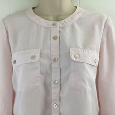 Chico's 0 XS S Utility Top Light #Pink Roll Sleeve Pockets Modal Blouse 4 6 #Chicos
