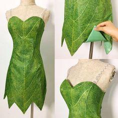 a6edb76c2 P656 Green Tinkerbell flannel leaf print dress Costume custom made women  adult