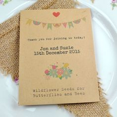 Recycled Seed Packet Wedding Favour Containing British Wildflower Seeds For Erflies And Bees 1 25