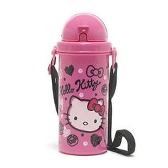 Hello Kitty Sports Drink Bottle Reusable Straw Pop Up Bottle 600ML Pink