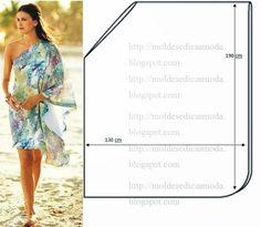 Vestido fácil de fazer. As medidas facilitam a modelagem e o corte. Este modelo pode ser confeccionado em seda e todos os tecido leves e com bom caimento.