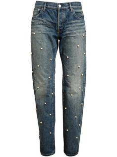 TU ES MON TRESOR - Small Pearl Embellished Boyfriend Jeans