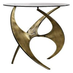 Mid Century Gold Accent Table with Round Glass Top   Clear Home Design Gold Accent Table, Mid Century Modern Side Table, Glass End Tables, Round Side Table, Mid Century Design, Gold Accents, Antique Gold, Round Glass, Sculpting