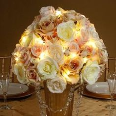 These fairy light strands from the David Tutera Bridal Collection make decorating floral displays and centerpieces a snap. Each strand has 12 tiny LEDs (about the size of a grain of rice) on an ultra thin diameter 4.2 foot long wire. The battery pack is small and slim, making it easy to hide.