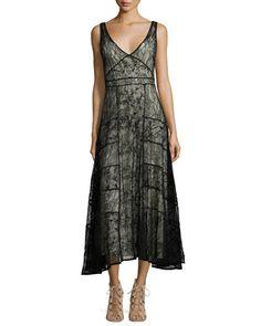TBNU3 Alice + Olivia Phyllis Sleeveless Paneled Lace Midi Dress, Black/Brown
