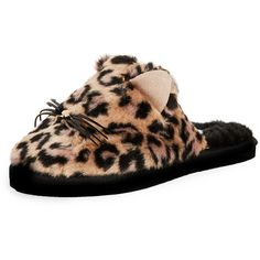 Kate Spade New York Belindy Plush Slippers (€66) ❤ liked on Polyvore featuring shoes, slippers and natural leopard