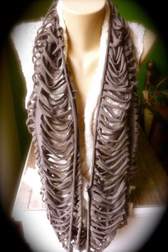 Upcycled T-Shirt Infinity Scarf - Stormcloud Gray - Ribcage Style Diy Scarf, Scarf Shirt, T Shirt Yarn, Recycled T Shirts, Old T Shirts, Scarf Jewelry, Jewlery, Remake Clothes, Diy Clothing