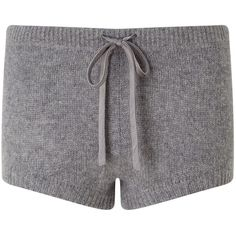 Jigsaw Cashmere Lounge Shorts, Light Grey Mel ($62) ❤ liked on Polyvore featuring shorts, draw string shorts, overalls shorts, bib overalls, bib overalls shorts and patterned shorts