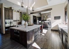 Dream kitchen   If you or someone you know wants to buy or sell a home anywhere in the Lake Conroe, Tx area.Give us a call.We welcome the opportunity to earn your business and your referrals.TheKristinaTeam,REALTOR phone/text:936-672-2626 email:kristina@thekristinateam.com Craftsman Kitchen, Farmhouse Sink Kitchen, Kitchen Island, Beautiful Kitchens, Cool Kitchens, Dream Kitchens, Beautiful Homes, Kitchen Design, Kitchen Decor