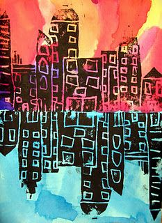 Art in the Big Green Room: Grade Cityscape Reflections printmaking warm / cool colors 5th Grade Art, Grade 3, Warm And Cool Colors, Ecole Art, E Mc2, School Art Projects, Art Lessons Elementary, Art Lesson Plans, Art Classroom