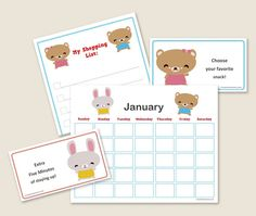 Cute planners for kids, grocery list to remind you what to buy, cute recipe cards.