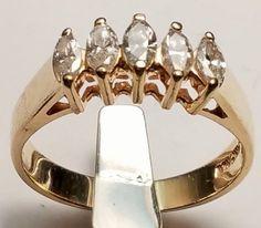 14 KT YELLOW GOLD MARQUISE SHAPE DIAMOND BAND...JEWELRY