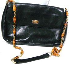 Great American Leatherworks Black Purse Bag Leather Shoulder Bag Beaded Strap #GreatAmericanLeatherworks #ShoulderBag