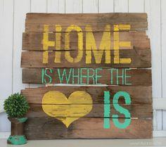 pallet wall art   Home is Where the Heart is sign #diy #palletart