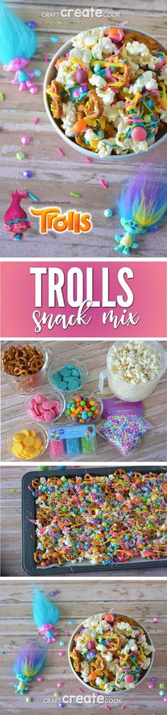 Dance, Hug and Sing your way to making this Troll Party Snack Mix! via @CraftCreatCook1