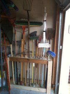 Great idea for DIY yard tool storage