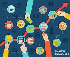 Business Hands Financial Flowchart