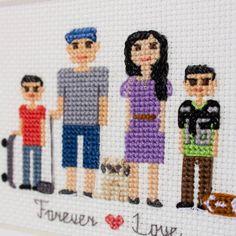 2 Adults And 2 Kids Pets. Custom Cross Stitch от RussianStitches