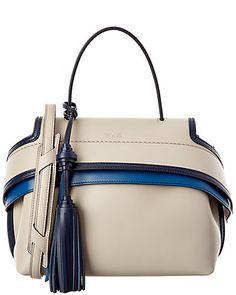 Rue La La — TOD's Mini Wave Striped Leather Shoulder Bag