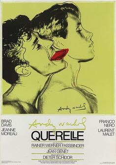 Andy Warhol was commissioned by the German film director Rainer Fassbinder to design the poster for his filmed adaptation of Jean Genet's novel, Querelle, which follows a young sailor's sexual escapades in a French port. Warhol took a polaroid of two young men as a starting point for his silk-screen print, but idealized the young boy's features and marked with a bright blue the other man's tongue. The image's sensuous character distills Genet's erotic tale. 1982