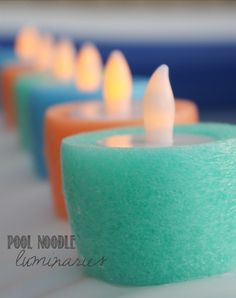 How To Make Pool Noodle Luminary Candles...http://homestead-and-survival.com/how-to-make-pool-noodle-luminary-candles/