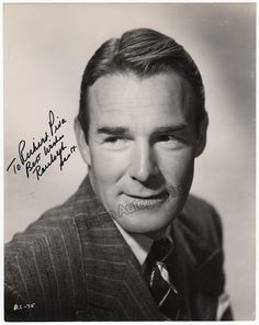 American film actor (1898-1962) with a career from 1928 to 1962, appearing in dozens of films of many different genres. Signed photo, 8 x 10 inches, inscribed, shown young, excellent condition