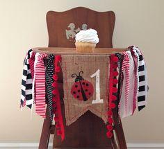 Ladybug Birthday Highchair Banner / Cake Smash / First Birthday / Photo Shoot Prop / Party Decor / Red Black & White Banner