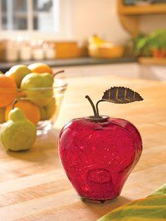 Fruit Fly Trap - Appled Shaped, Crackle Glass | Gardener's Supply