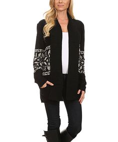 Another great find on #zulily! Black & Cream Geometric Stripe Cowl Long Open Cardigan #zulilyfinds