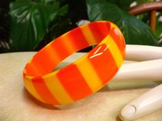 Vintage 1960's Orange & Yellow Striped Opaque Cased Lucite Bangle Bracelet #Bangle