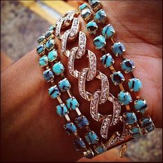 turquoise and pave chain bracelet summer 2012 on sale! www.capwell.co