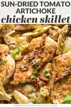 This flavorful Chicken with Sun-Dried Tomatoes and Artichokes is a one-skillet, 30-minute dinner you'll love, with an irresistible silky cream sauce. Easy Skillet Meals, Skillet Chicken, Chicken Flavors, Chicken Recipes, Easy Soup Recipes, Healthy Recipes, Easy Family Meals, Family Recipes, Lemon Thyme Chicken