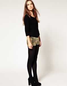 love the gold sequins with tights