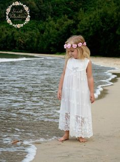 Flower girl dress, girl lace dress, rustic flower girl dress, boho flower girl dress, beach flower g Dress Flower, Flower Girl Dresses Boho, Girls Lace Dress, Baby Dress, Cute Dresses, Girls Dresses, Dress Girl, Trendy Dresses, Beach Flower Girls
