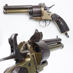 LeMat Pinfire Revolver    One of the favorite pistols of the American Civil War, at least for certain officers like General J.E.B Stuart on the Confederate side, was the LeMat revolver. Capable of firing regular conical or round bullets from nine cylinder chambers, the LeMat also could discharge a load of buckshot from a lower barrel.