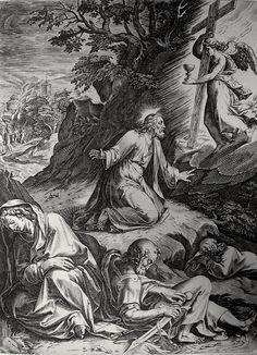 Christ's earthly ministry in the Phillip Medhurst Bible 323 of 550 The agony in the Garden of Gethsemane Mark 14:35 Goltzius on Flickr. A print from the Phillip Medhurst Collection at St. George's Court, Kidderminster.